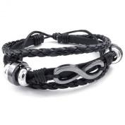 KONOV Jewellery Mens Womens Leather Bracelet, Love Infinity Charm Bangle, Fit 18cm - 23cm , Black Silver