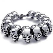 KONOV Jewellery Stainless Steel Large Gothic Skull Biker Men's Bracelet