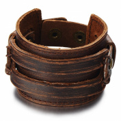 Metallic Brown Genuine Leather Wristband Mens Wide Leather Bracelet with Snap Button