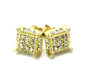 Mens Gold and Clear Cz Cube Iced Out Hip Hop Micro Pave Kite Stud Earrings Bling