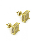 Mens 10mm 14k Gold Plated Cz Micro Pave Iced Out Smooth Cube Stud Earrings Screw Backs