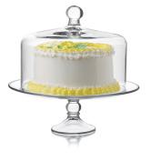 Libbey 2 Piece Selene Cake Dome Set, Clear, Clear
