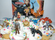 How to Train Your Dragon Set of 12 Figure Cake Toppers / Cupcake Party Favour Decorations with 9 Dragons, Hiccup, Astrid and Some New Charcters!