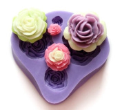 4-Hole Flower Fondant and Gum Paste Silicone Resin Clay Moulds Baking Moulds Cake Decoration