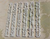 Autek 6pcs Alphabet Number Letter Fondant Cake Frill Edge Sugarcraft Cutter Mould Tool