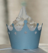 All About Details Shimmer Light Blue Crown Cupcake Wrappers, Set of 12