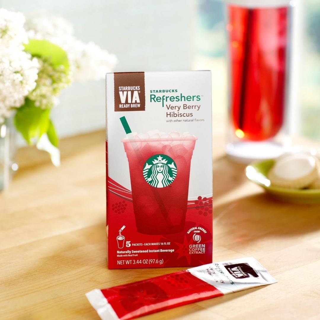 Starbucks Via Refreshers Very Berry Hibiscus 5 Pack By Starbucks