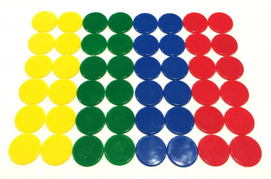 Plastic Counters Blue Red Yellow And Green Colour Gaming Tokens Hard