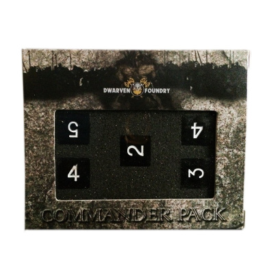 Set of 5 D6 Metal Dice Dwarven Foundry Commander Pack Drow Black Perfect for Warhammer Shadowrun Warmachine