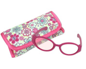 46cm Doll Pink Sunglasses & Case, 2 Pc. Set, Perfect for 46cm American Girl Dolls Clothes & More! Hot Pink Doll Glasses & Floral Print Eyeglass Case.