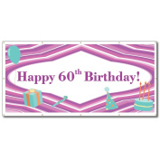 Happy 60th Birthday Purple Lines and Teal Icons 1.2mx2.4m Vinyl Banner