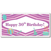 Happy 30th Birthday Purple Lines and Teal Icons 1.2mx2.4m Vinyl Banner