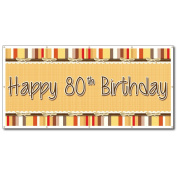 Happy 80th Birthday Bow and Stripes Pattern 0.9m x 1.8m Vinyl Banner