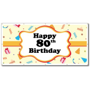 Happy 80th Birthday Party Hats 0.9m x 1.8m Vinyl Banner