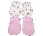 4 Pairs Cotton Newborn Baby/infant No Scratch Mittens Gloves - Little Cupcake + Pink