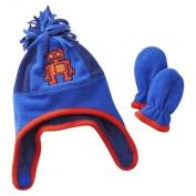 Toby Infant Boys Blue Fleece Robot Trapper Hat & Mittens Set