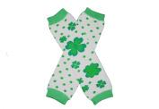 ST PATRICK's DAY White & Green Polka Dots FLOWERY SHAMROCK Baby Leg Warmers