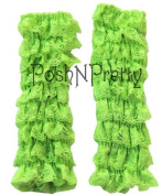Chartreuse Lace Ruffle Baby Toddler Leg Warmers. One Size. Tiers of Lace