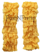 Yellow Lace RUFFLE Baby Toddler Leg warmers. One Size. Tiers of Lace. Just Adorable!