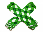 KWC - White & Kelly Green Argyle Ruffle Baby Leg Warmer