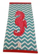 "Aloha 100% Cotton Beach Towel ""Seahorse"", Turquoise/Pink"
