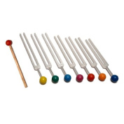 7 Chakra Tuning Fork Set with Colour Balls+pouch+mallet.