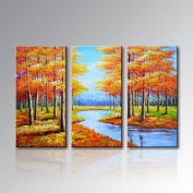 Stretched Handpainted Frame Landscape Oil Painting on Canvas Painting Pictures for Bedroom Decor Ready to Hang