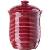 Oggi Large Red Ceramic Ribbed Food Storage Canister