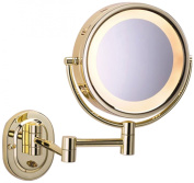 See All HLBSA895 Halo Lighted 20cm Diameter Wall Mounted Make Up Mirror 5X, Brass