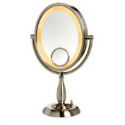 See All HLNTP1015V Halo Lighted Oval Table Pedestal 10x with 15x Inset, 25cm x 20cm , Nickel