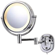 See All HLCSA895 Halo Lighted 20cm Diameter Wall Mounted Make Up Mirror 5X, Chrome