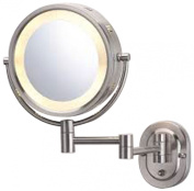See All HLNSA895 Halo Lighted 20cm Diameter Wall Mounted Make Up Mirror 5X, Nickel