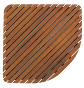 Bare Decor Dania Corner Shower Spa Mat, 60cm by 60cm , Solid Teak Wood and Oiled Finish