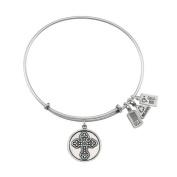 Wind and Fire Fleur De Lis Cross Charm Bracelet in Silver-Plated Brass