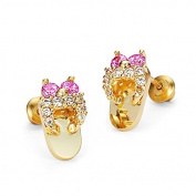 14k Gold Plated Pink Sandle Children Screwback Earrings with 925 Silver Post Baby, Toddler & Kids
