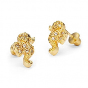 14k Gold Plated Baby Sea Horse Children Screwback Earrings with 925 Silver Post Baby, Toddler & Kids