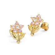 14k Gold Plated Pink Flower Children Screwback Earrings with 925 Silver Post Baby, Toddler & Kids