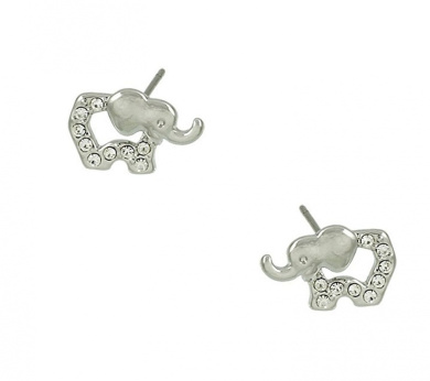 Adorable X-Small Silver Tone Baby Elephant Outline Crystal Stud Earrings for Girls, Teens and Women