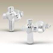 Cross Silver Earrings, Sterling Silver 925,