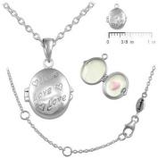 Girls Jewellery - Silver Enamelled Heart Love Oval Locket Necklace