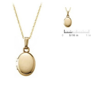 Baby 14k Gold Oval Locket with 33cm Rope Chain