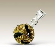 8mm Crystal Ball Silver Pendant, Preciosa Stones, 925 Sterling Silver Pendant