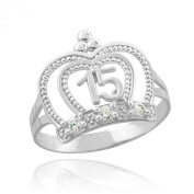 10k White Gold Sweet 15 Anos Band Imperial Queen Quinceanera Crown Ring