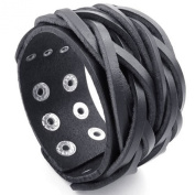 KONOV Jewellery Mens Adjustable Leather Bracelet, Wide Punk Rock Cuff Bangle, Fit 18cm - 20cm , Black