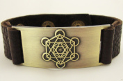 Metatron Cube Bracelet, Leather, Adjustable