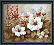 Diy oil painting, paint by number kit- Pure flowers 16*50cm .