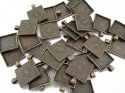 "10 Square Pendant Trays - Antique Bronze Colour - 1 Inch - 25mm - Pendant Blanks Cameo Bezel Settings Photo Jewellery - Custom Jewellery Making - 1"""