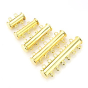 BEADNOVA Assorted Gold Plated Multi Strand Slide Magnetic Tube Clasp for Necklace Jewellery Findings
