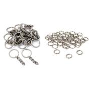 Nickel Plated Key Chain Rings W/ Chain & Split Rings Jewellery Connectors 50 Pcs