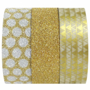 Wrapables Gold Treasure Japanese Washi Masking Tape for Scrapbooking, 5m by 15mm, Set of 3